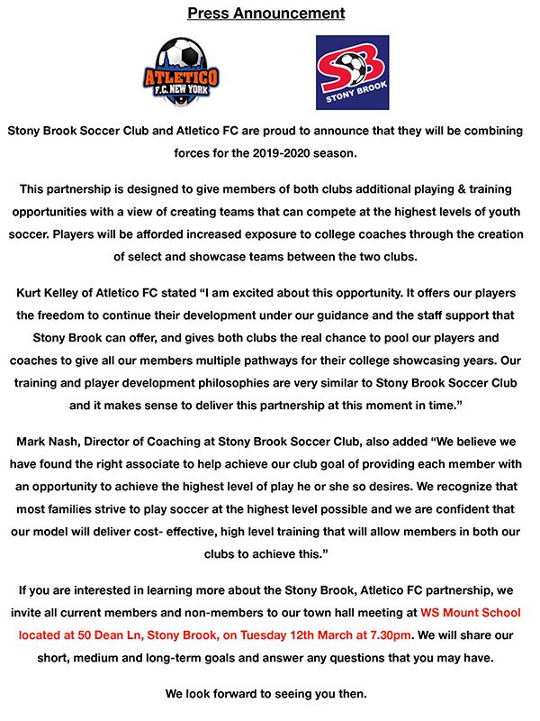 Stony Brook Spring Break 2020.Stony Brook Sc Atletico Fc Joint Announcement Back Of
